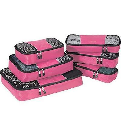 eBags Classic Packing Cubes - 6pc Value Set Pink Peony Travel Organizer NEW