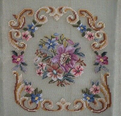 Preworked Vintage Needlepoint Tapestry Floral Antique Canvas Square