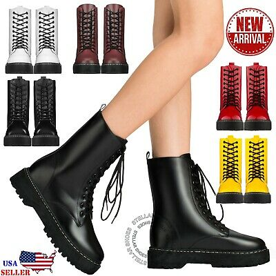 New Women's Lace Up Combat Boots Low Chunky Heel Military High Ankle Boots