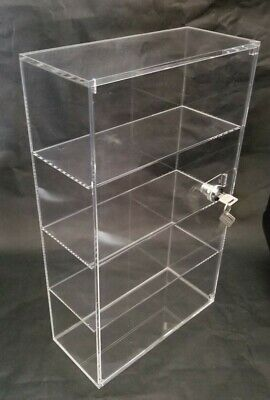 Acrylic Countertop Display Case 10 x 4.5 x 16.75 Key Locking Security Showcase