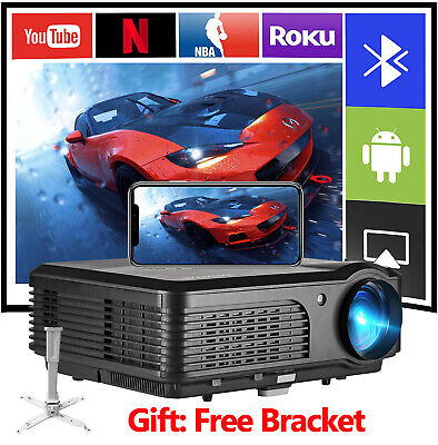 5000lms Smart Android Projector Bluetooth LED Home Cinema WIFI Movie HD VGA HDMI