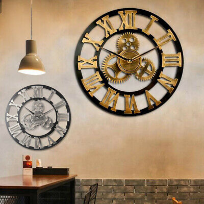 60CM Outdoor Garden Large Metal Wall Clock Vintage Roman Numeral Gear Rustic