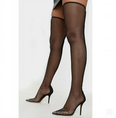 Womans Stiletto Black Sexy Over Knee Thigh High Boots Fishnet Clubwear SM Fetish