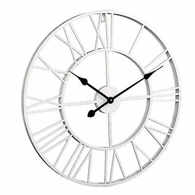 40/60cm Extra Large Roman Numerals Skeleton Big Giant Open Face Round - WHITE