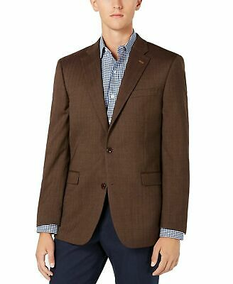 Tommy Hilfiger Mens Blazer Brown Size 40 Long Stretch Two Button Wool