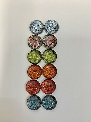 6 Pairs Of 12mm Glass Cabochons #1004