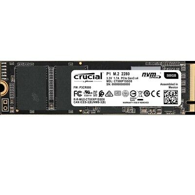 Crucial CT500P1SSD8 P1 500GB M.2 (2280) NVMe PCIe SSD3D NAND Internal Solid  WP.
