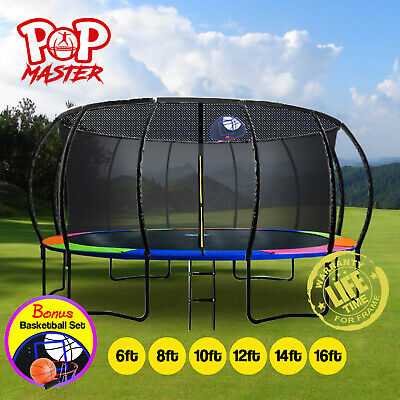 【XMAS SALE】6/8/10/12/14/16FT Curved/Flat Trampoline w/ Basketball Hoop!
