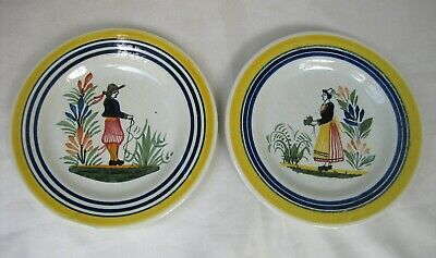 """Henriot Quimper France Pair of 6"""" Plates with Breton Man and Woman"""