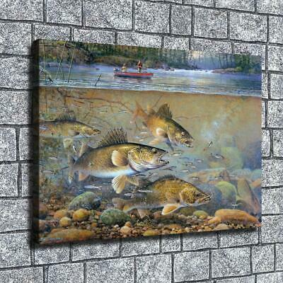 "12""x16"" Animals Fishing Paintings HD Canvas Prints Home Decor Wall Art Pictures"