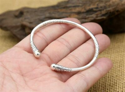Thin Cuff Band Bangle 925 Sterling Thai Silver Men And Women Personality Jewelry