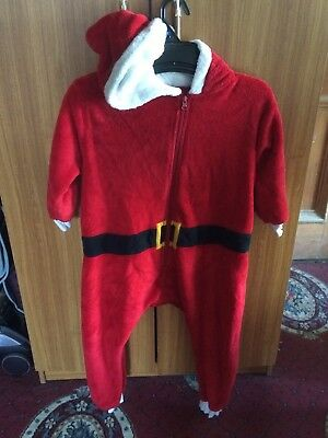 Next Santa Pjs Loungewear Jumpsuit All in One Age 7-8 Hooded Christmas