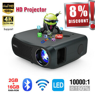 Portable Smart HD Android 6.0 Projector Wifi Bluetooth Home Cinema HDMI/USB/VGA