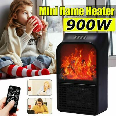 900W Wall Mount Electric Fireplace Heater 3D Flame Log Air Warmer Remote Contr