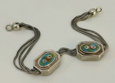 Vtg 1840s French 800 Solid Silver & Enamel Floral Albertina Pocket Watch Chain