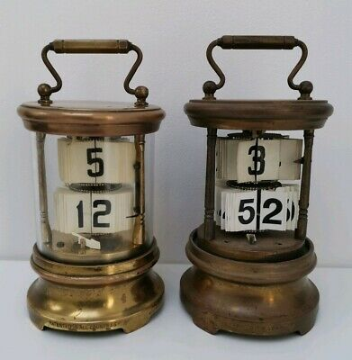 Vintage Pair of Brass Flip Ticket Carriage Clocks Junghans & Ever Ready Chronos