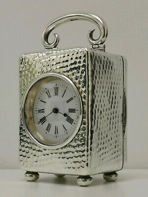 Vtg 1902 Mappin Webb Solid Sterling Silver Cased Miniature R & Co Carriage Clock
