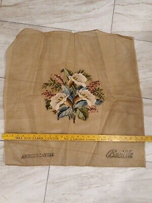 """Vintage Bucilla Needlepoint Antique Canvas Floral Preworked Chair Cover 26X26"""""""