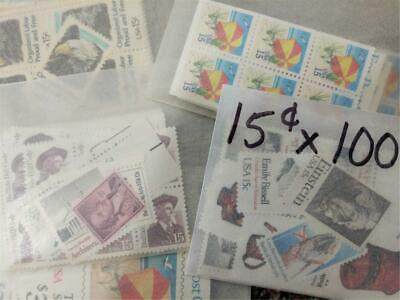 US Stamps Mint 15 Cent Stamps x100 $15.00 Face Value DISCOUNT Postage