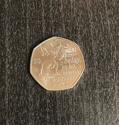 2019 Captain Hook 50p Isle Of Man Uncirculated Coin
