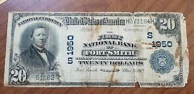1902 First National Bank of Fort Smith Arkansas $20 Dollar Note