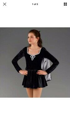 Girls 1st Position Black & Silver Velour Irish Dance Dress Costume With Cape XLC