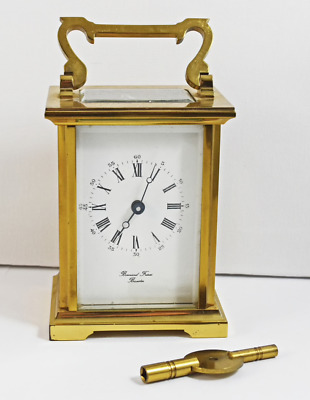 Vintage Working Bornard Freres Of Bicester Brass 7 Jewel 8 Day Carriage Clock