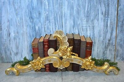 Antique French Carved Gilded Painted Wood Large Pediment Scrolled Acanthus
