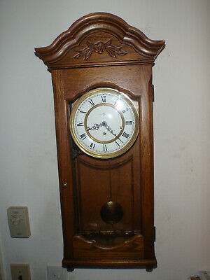 Howard Miller 612-578 Wall Clock Oak 8 Day Key Wound Hermle Triple Chime