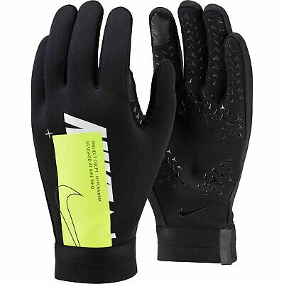 NIKE HYPERWARM ACADEMY FIELD PLAYER SOCCER GLOVES Black/Volt