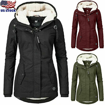 Womens Warm Fleece Lined Jacket Parka Ladies Winter Hooded Coat Outwear Overcoat