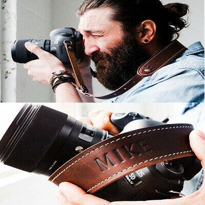 Personalised Camera Strap Genuine Leather Adjustable Handmade Custom Gift