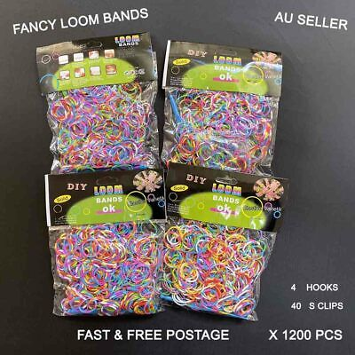 1200pcs(4x300) Color Tie-Dye Mix Loom Band Rubber bands  + free clips & Hooks