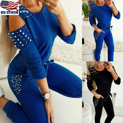 Womens Jogger Casual Tracksuit Sweatshirt Tops + Pants 2Pcs Sets Sport Wear USA
