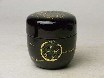 Japanese Lacquer Ware Tea Caddy Makie Natsume Pine, Bamboo and Plum