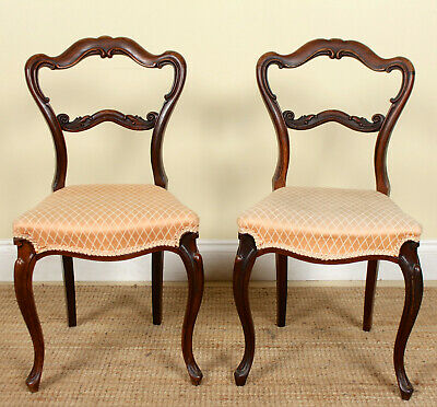 2 Antique Rosewood Chairs Pair Dining Bedroom Salon Chairs Victorian 19th