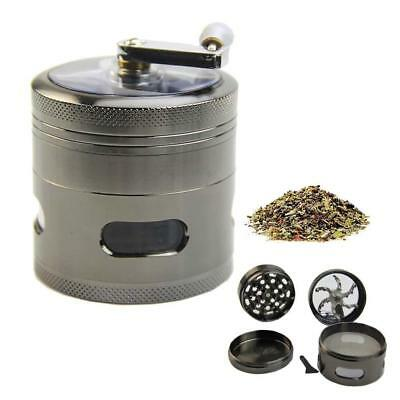 """New Handle Mill Grinder 4 Layer 2.5"""" Herb Tobacco Spice Crusher Metal Storage XI"""