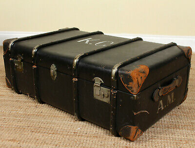 Vintage Trunk Storage Box Chest Steamer Coffee Table Large Black Suitcase
