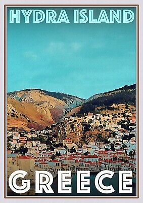 Art Deco Travel Posters Lovely Vintage Retro Holiday Tourism Hydra Island Greece