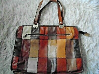 Made in Italy brown leather patchwork tote bag boho shoulder retro 1970s  medium