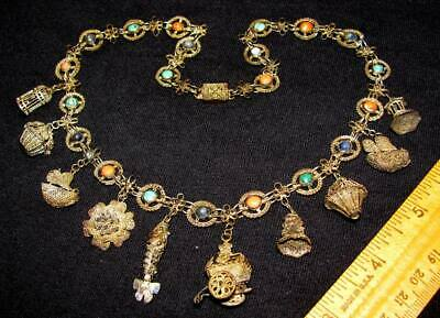 Antique Chinese Export Coral Turquoise Lapis Gilt Silver Charm Necklace Signed