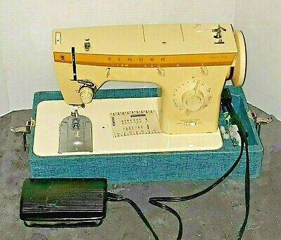 Vintage Singer Fashion Mate 360 Sewing Machine, Foot Pedal, Case, Made in Italy