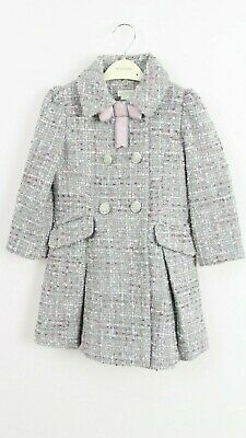 Monsoon Girls Tweed Grey Party Dress Winter Jacket Coat Age 3 to 13 Years