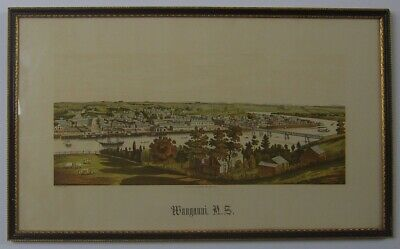 New Zealand. Original antique chromolithograph print  of Wanganui by W.Potts