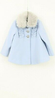 Girls NEW Monsoon Pale Blue Fur Neck Party Winter Jacket Coat Age 1 to 4 Years