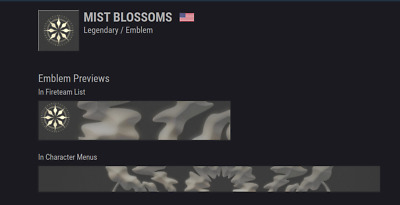 Destiny 2 Mist Blossoms Emblem Code INSTANT DELIVERY GUARANTEED   PC/PS4/XBOX