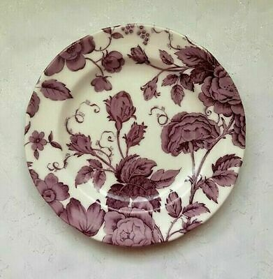"PORTMEIRION-SPODE KINGSLEY White-Purple- 2x 8"" Side Plates-English Heritage-NEW"