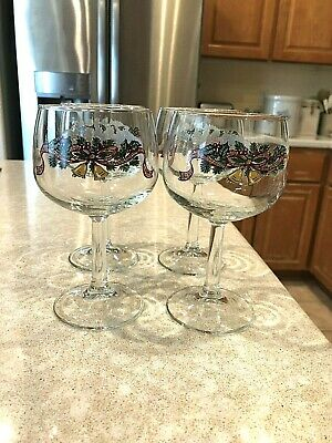 Set Of4 Johnson Brothers Victorian Christmas 8 Ounce Goblet ~ (Made In England)