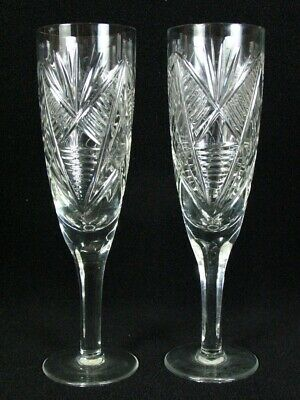 Antique ? Hand Cut Crystal Clear Glass Champagne Flute Glasses