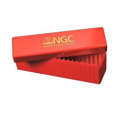 NGC Official Red Plastic Slab Coin Box Hold 20 Certified Graded Coins Storage